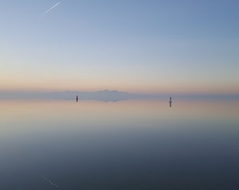Great Salt Lake, Wall Decor, Nature, Sky, Water, Reflections, Digital Print