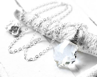 Clear Crystal Necklace, Sparkling Swarovski Crystal Wire Wrapped Baroque Briolette, Sterling Silver Cable Chain, Ice, Winter, Water