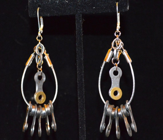 BICYCLE EARRINGS: Unique, Statement,  Funky, Upcycled Bicycle earrings