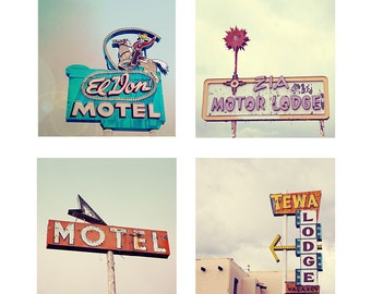 Route 66 Motel Sign Photography Set, Tewa Lodge, Mother Road print set, Vintage Pastels Motel Sign Wall Art - No Vacancy