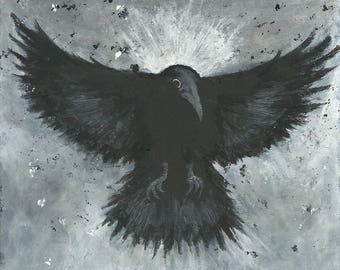 Original painting CROW in flight