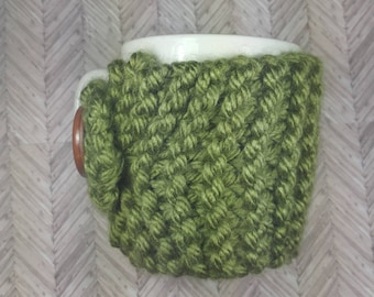 Forrest Green Mug Cozy- Forrest Green Coffee Cup Cozy- Knitted Coffee Cup Cozy