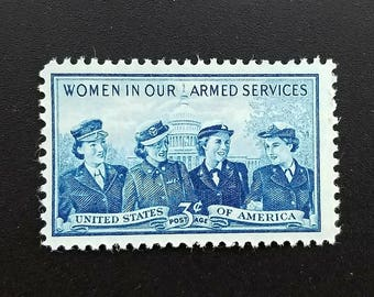 Ten (10) vintage unused postage stamps - Women in the armed forces, 3 cent stamps