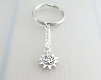 Steampunk Sun Charm Keychain, Sun Charm Keyring, Silver Star Keychain, Space Charm Keyring, Celestial Keychain, Space Gift, Steam Punk Gift
