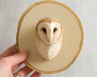 Barn Owl Needle Felted Portrait - Wall Hanging - Fiber Art