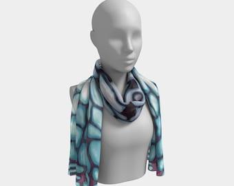 Growing Bone cartilage Blue Purple White Long Scarf Wearable Art