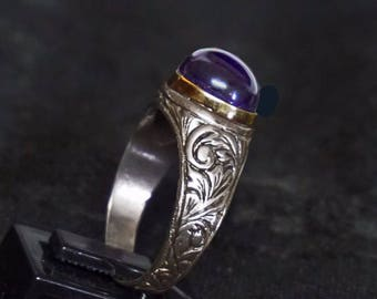 Handmade Peace and peace Amethyst Ring 925 Sterling Silver Antique Style Energetic gifts from nature