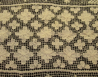 "Vintage crochet tablecloth-beautiful large white antique table cloth 78"" x 58"""