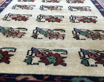 Turkish Oushak Small Rug / 2'8'' x 3'9'' ft /  1.14 x 0.80 mt