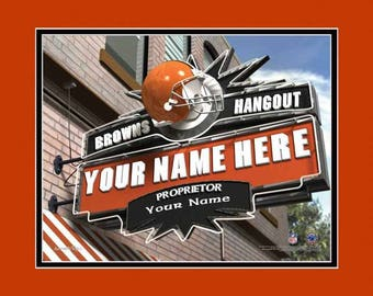 Cleveland Browns Hangout Sign - Browns Pub Sign - Personalized Gift - NFL Pub Print - NFL Gift