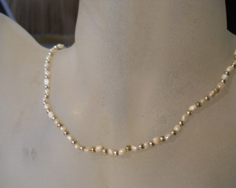 Genuine Freshwater Pearl  Necklace with Silver Beads