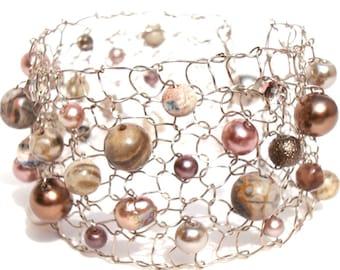 Titanium Bracelet Beaded Bracelets Pearl Cuff Bracelet Gemstone Bracelet Rose Gold Peach Sepia Unique Handmade Jewelry Gift for her