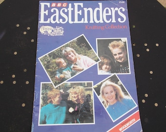 East Enders knitting pattern book from BBC with lovely elephant jumper pattern for kids jumper and many more was exclusive to Woolworth 1986