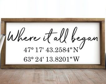 Where It All Began Coordinates Sign,Personalized Latitude Longitude Sign,Housewarming Gift,Custom Coordinates Sign,Personalized Wedding Gift