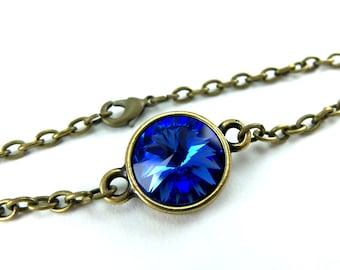 Chain Bracelet Crystal Blue Sapphire Tennis Bracelet  September Birthstone Brass
