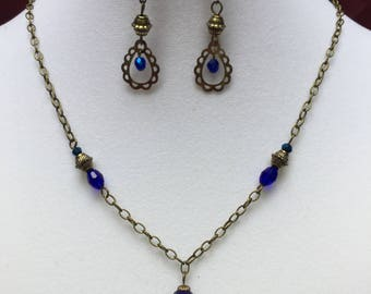 Royal Blue Vintage Necklace and Earring Set