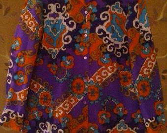70s Alex Colman purple and orange psychedelic shirt