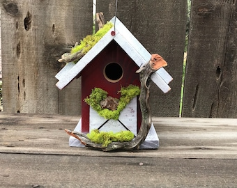 Birdhouse Handmade Cedar Wood Hand Painted  Outdoor Bird House Red & White with Driftwood and Moss, Rustic Birdhouses, Item #601977662
