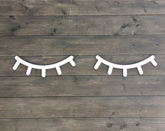 "Eyelashes Wall Sign 14"" inches wide Each, 1 Pair, Laser Cut Wooden Sign Baby Room Nursery Girls Room Nap Room Boys Room"