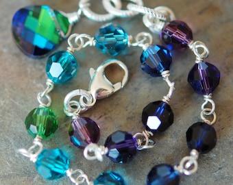Set of 8 Peacock Bracelets, Swarovski Crystal Sterling Silver, Adjustable, Bridesmaid Gift, Blue Purple Green Teal