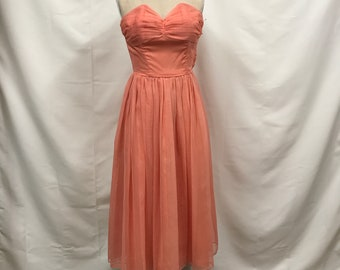 Coral 1950s strapless Prom Party dress with matching bolero
