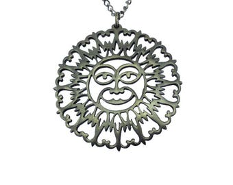 Large Pewter Sun Necklace, Silver Sun Necklace, Large Sun Pendant Necklace, Large Silver Medallion