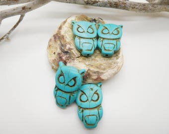 6 owls turquoise tinted stone 30x20mm turquoise synthetic /fabrication jewel / Pearl animal howlite