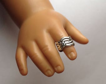 Set of 3 Beautiful Sterling Silver Adjustable Doll Rings shipped in a box and a fancy bag, 18 inch Doll Jewelry, Dolls All Day Fashions