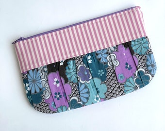 Ruched Happy Bag, pleated pouch, purple bag, phone pouch, mini bag