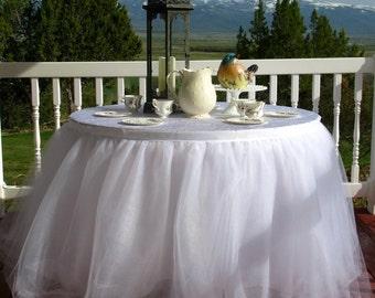 White Tulle Table Skirt, Tutu Tableskirt for Wedding, Birthday or Cake Table- Custom Size, Made to Order