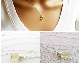 Yellow Citrine Necklace - November Birthstone - Dainty Drop Necklace - Sterling Silver Necklace - Gemstone Briolette Necklace - Gift for Her