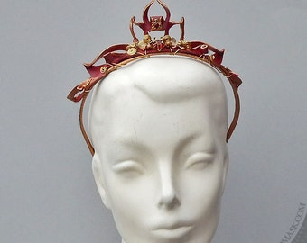 Scarlet Filigree Leather Tiara with Brass Spirals and Vintage Rhinestones