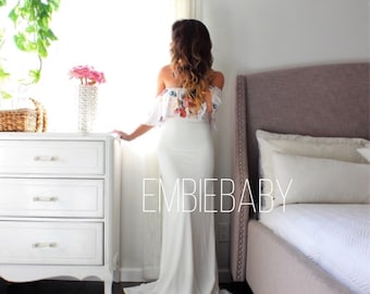 Maternity Gown fitted white maternity dress baby shower photography - the floral LOVE flounce- limited