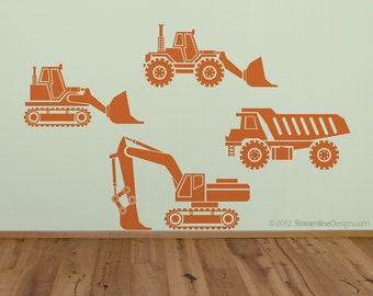 Big Rig Construction Set Wall Decals | kids wall art tonka truck childrens wall art construction trucks kids room decor kids wall decor
