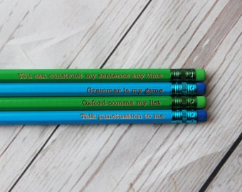 Personalised Grammer Pencils - Choose your colour and any wording  - Custom Fun pencils - Grammer Rules