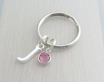 Letter Charm Keychain, Personalised Birthstone Keyring, Custom Silver Initial Keyring, Birthstone Crystal Keychain, Alphabet Gift, Name Gift