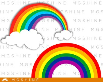 Rainbow SVG cutting files for Cricut and Silhouette Cameo - Rainbow png clipart - Rainbow dxf vector files - TS43