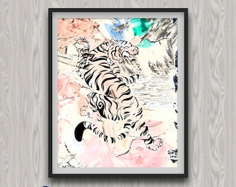 STORE COUPONS, Watercolor wall art, TIGER print, Animal lover gift, Best digital art, Tiger download, Stylish home decor, Animal art decor