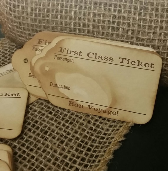 100 First Class Travel Stub Luggage Style Favor Tags 3 1/4 inches