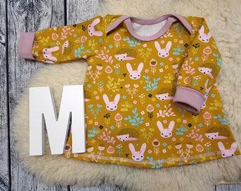 Long sleeve tunic, longsleeve, gift, baby, Mitwachstunkia, tunic, baby tunic, American neckline, bunny, flowers, Bunny, hedgehog, mustard