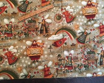 """country primitive love fabric, angels, barns, apples, harvest, angels carry messages of love,  """"peace in the country"""" design by Carol Endre"""
