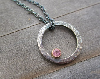 Round Pendant Necklace Recycled Argentium Silver Pink Tourmaline 14K Yellow Gold Oxidized Sterling Silver
