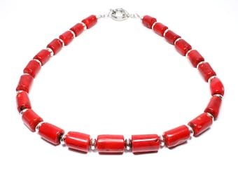 Red Coral Necklace - Coral Jewelry -  Coral Statement Necklace - Chunky Red Beaded Necklace - Beadwork Jewelry - Big Skies Jewellery