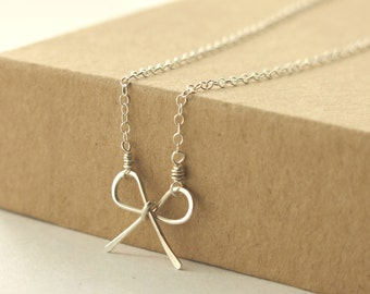 Ribbon Bow Necklace . sterling silver necklace . tie the knot, bride, bridesmaid, bff, sisters wedding gift