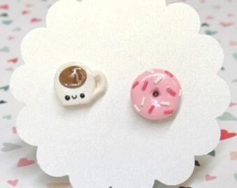 Coffee Earrings, Donut Earrings, Coffee and Donut, Cute Earrings, Food Earrings, Mismatch Studs, Hypoallergenic, Funny Gift, Donut Worry