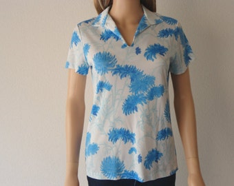 70s Women's Shirt White and Blue Floral Print Epsteam