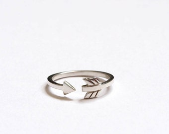 Cupid Arrow Ring, Silver Arrow Ring, Wrap Around Arrow Ring, Handmade Sterling Silver, Arrow Stacking ring,