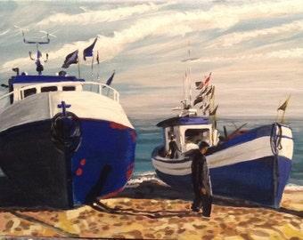 Original Acrylic Painting Fishermen Boats