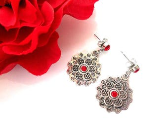 Mandala in distressed antique silver with red (light siam) Swarovski crystal earrings