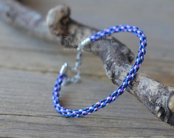 Bright blue friendship braided cord bracelet Japanese friendship bracelet Adjustable kumihimo bracelet Thin braided bracelet Nylon bracelet